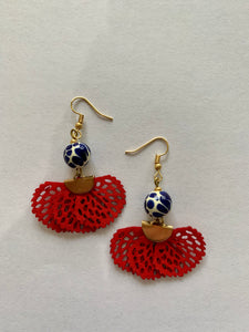 Talavera Gold Suede Earrings (Multiple Colors Available)