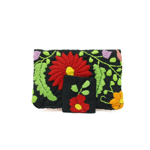 Mexican Hand Embroidered ID Mini Wallet - Black