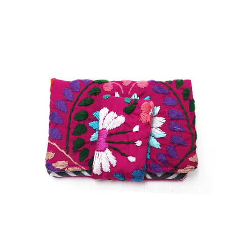 Mexican Hand Embroidered ID Mini Wallet - Fuchsia