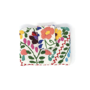 Mexican Hand Embroidered ID Mini Wallet - Off White