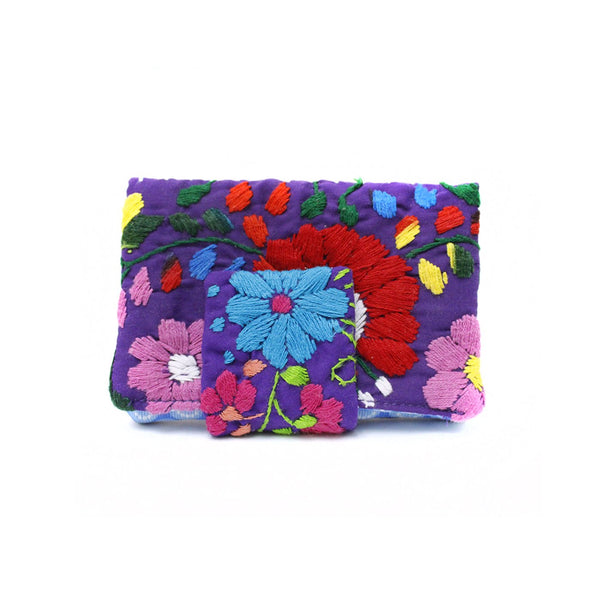 Mexican Hand Embroidered ID Mini Wallet - Purple