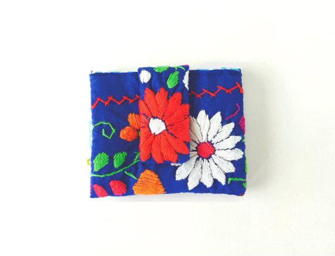 Mexican Hand Embroidered ID Mini Wallet - Royal Blue