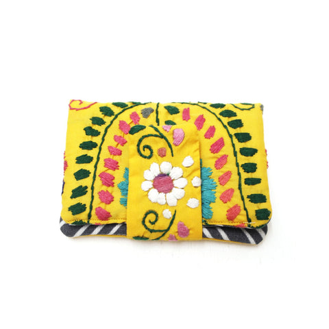 Mexican Hand Embroidered ID Mini Wallet - Yellow