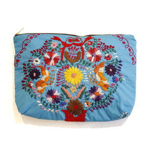 Mexican Hand Embroidered Clutch - Turquoise