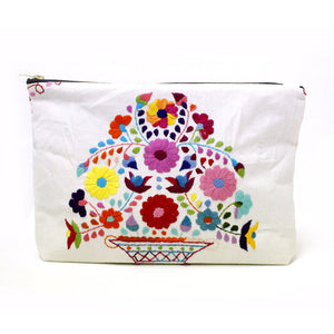 Mexican Hand Embroidered Clutch - Off White