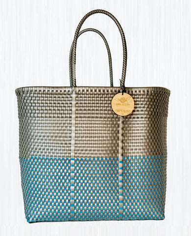 Handmade Mexican Large Tote - Orozco - Symmetrics Silver and Blue