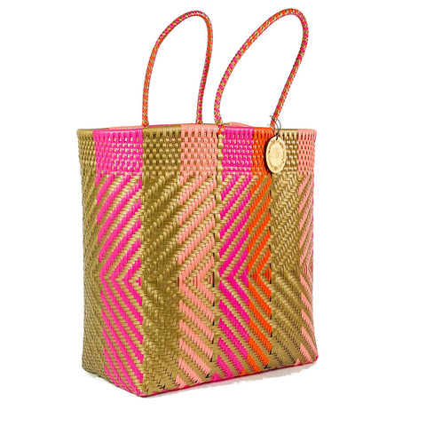 Handmade Mexican Extra Large Tote - Orozco Tall - Pink Arrows