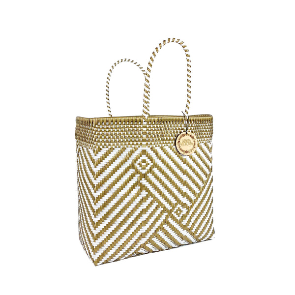 Handmade Mexican Large Tote - Orozco - Turrón Gold and White