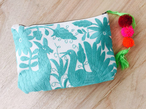 Otomi Hand Embroidered Clutch - Acqua