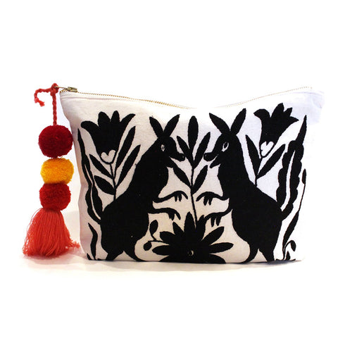 Otomi Hand Embroidered Clutch - Black