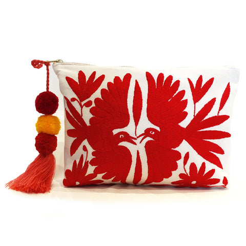 Otomi Hand Embroidered Clutch - Coral