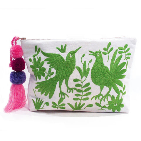 Otomi Hand Embroidered Clutch - Lime Green