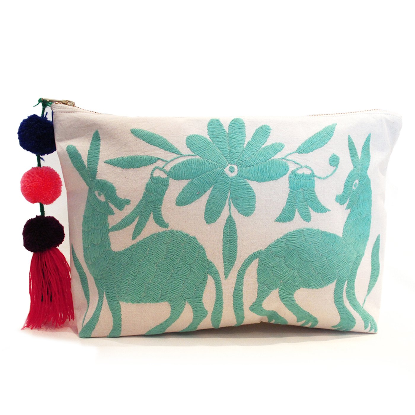 Otomi Hand Embroidered Clutch - Mint