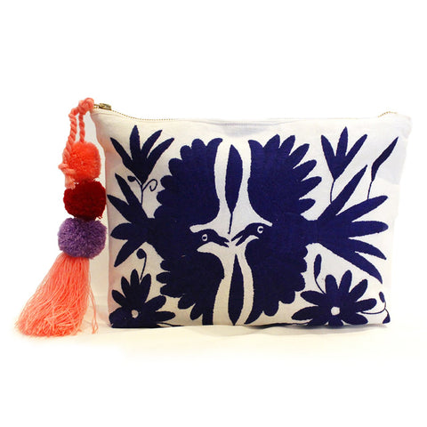 Otomi Hand Embroidered Clutch - Royal Blue