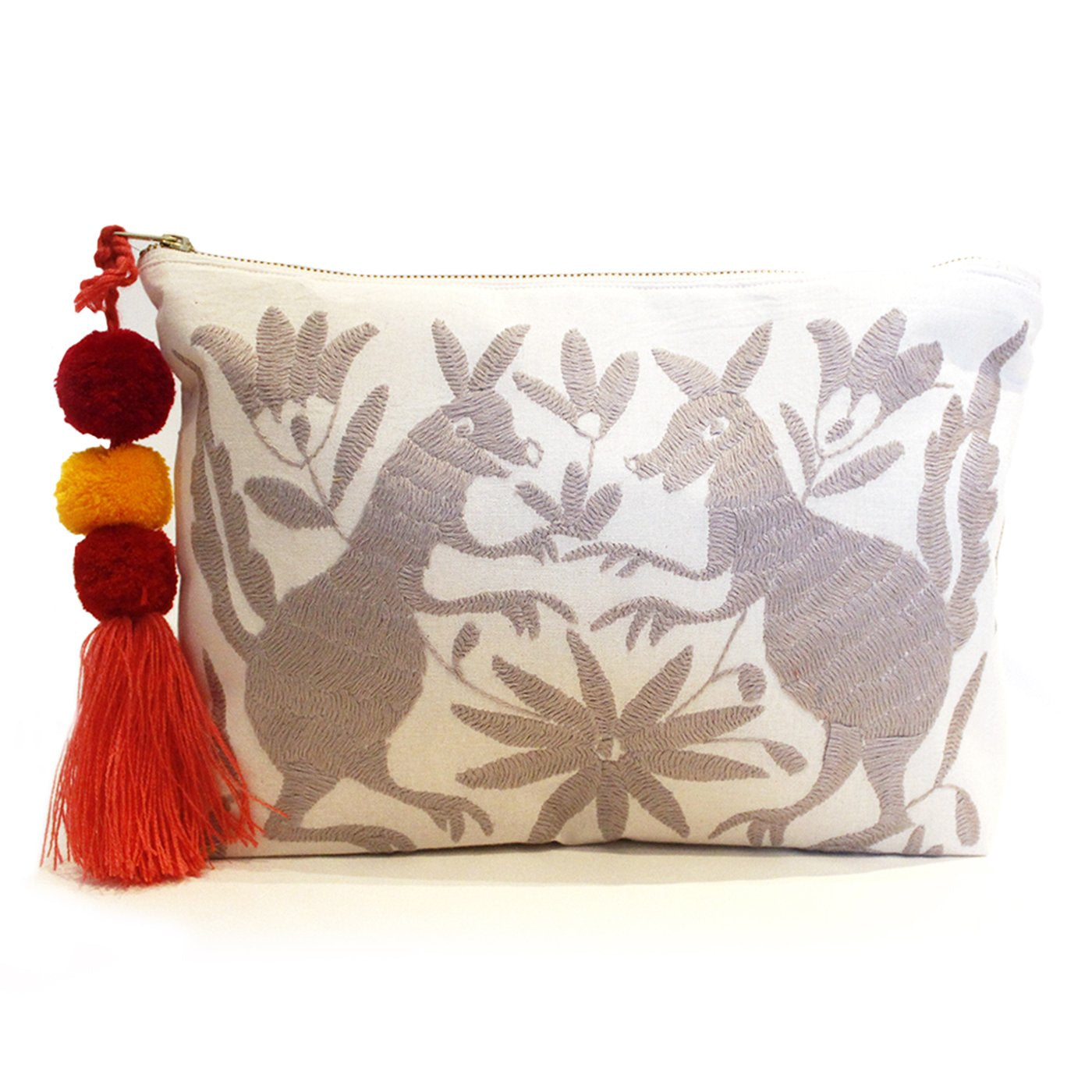 Otomi Hand Embroidered Clutch - Silver
