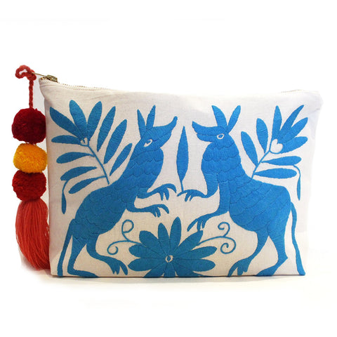 Otomi Hand Embroidered Clutch - Turquoise