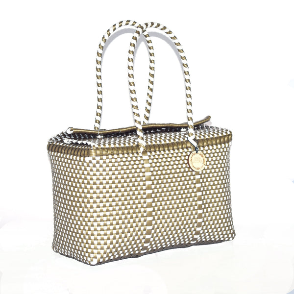 Handmade Mexican Bag - Siqueiros - Checkers Gold and White