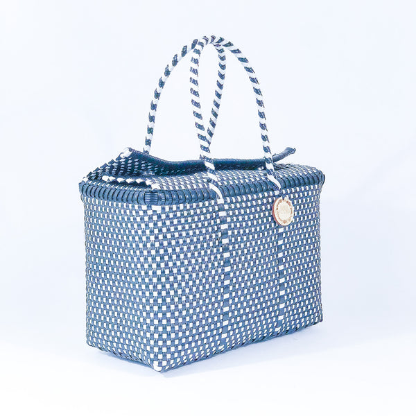 Handmade Mexican Bag - Siqueiros - Checkers Navy and White