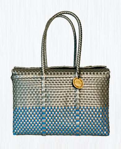 Handmade Mexican Bag - Siqueiros - Symmetrics Silver and Blue