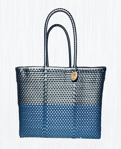Handmade Mexican Small Tote - Tamayo Small - Symmetrics Silver and Blue