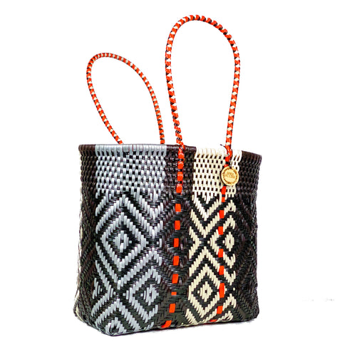 Handmade Mexican Medium Tote - Tamayo Tall - Contrast