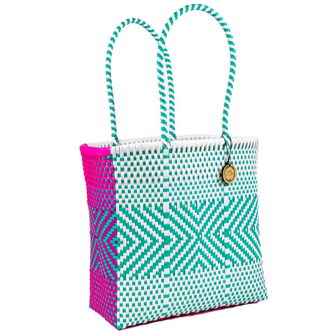 Handmade Mexican Medium Tote - Tamayo Tall - Electric