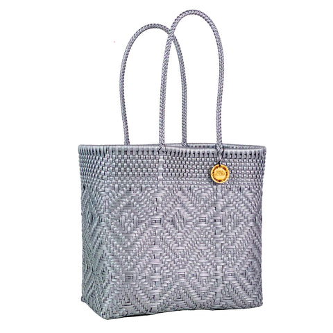 Handmade Mexican Medium Tote - Tamayo Tall - Monochrome Silver