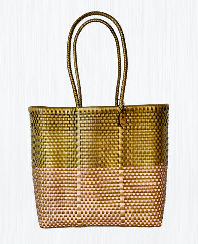 Handmade Mexican Medium Tote - Tamayo Tall - Symmetrics Gold and Pink