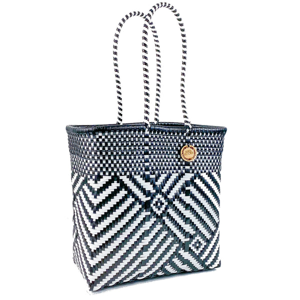 Handmade Mexican Medium Tote - Tamayo Tall - Turron Black and White