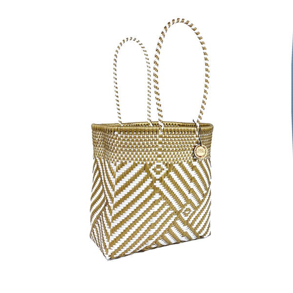 Handmade Mexican Medium Tote - Tamayo Tall - Turron Gold and White