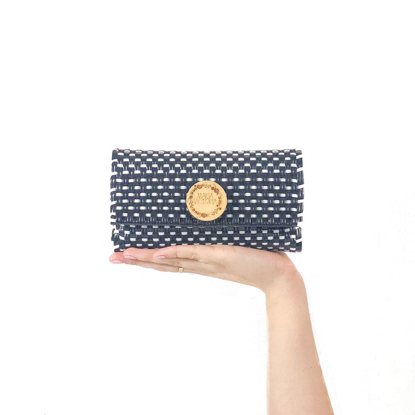 Handmade Mexican Trifold Wallet - Tesoro Mio - Checkers Navy and White