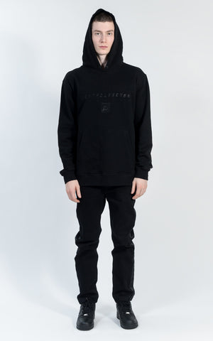 ACON1730-04 HOODED DOWN BOMBER - BLACK