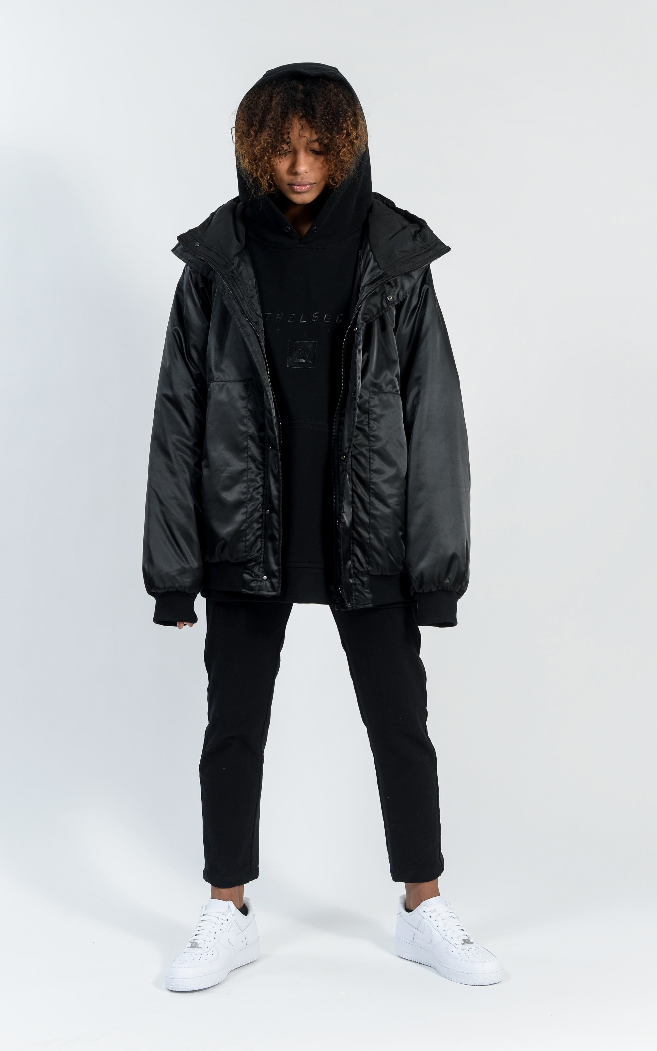UNISEX CON1730-04 HOODED DOWN BOMBER - BLACK