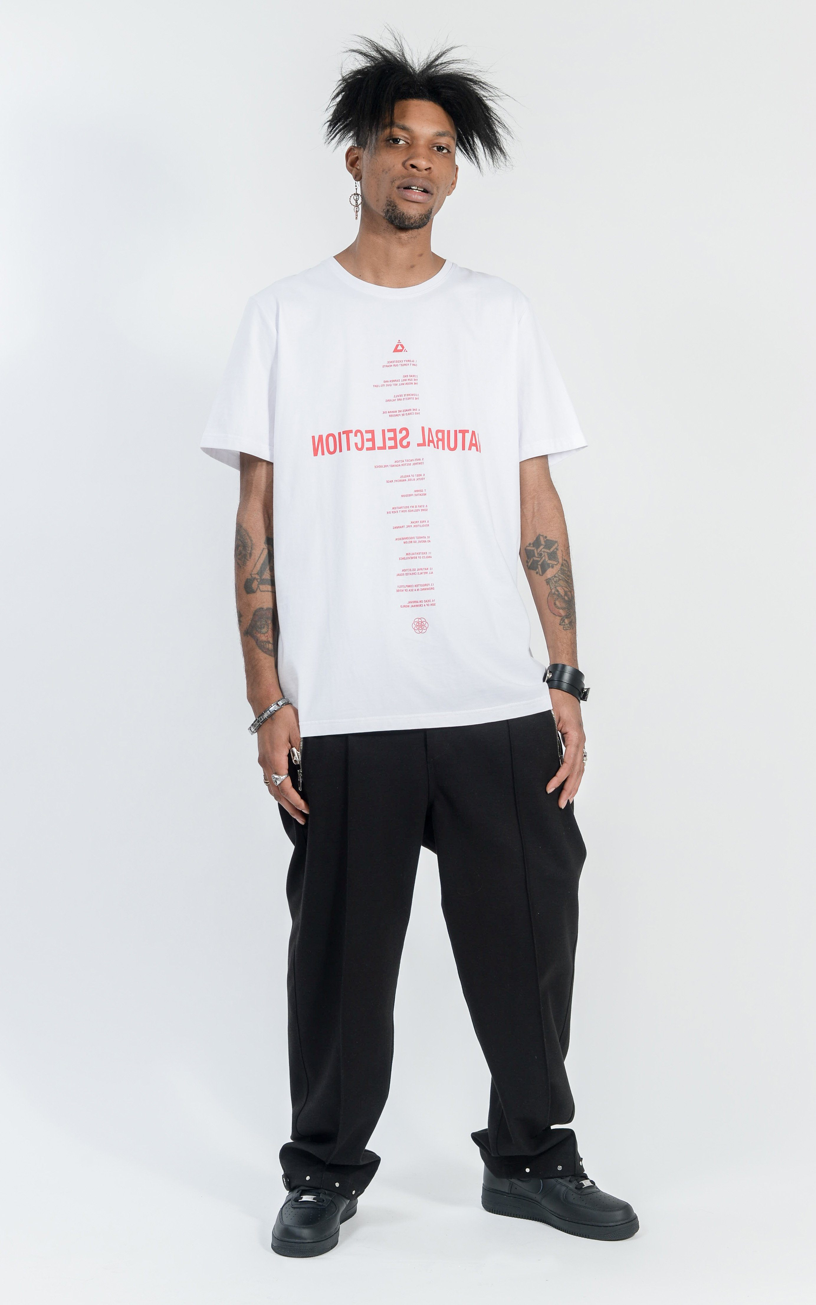CON1710-01 NATURAL SELECTION TEE - WHITE/RED PRINT
