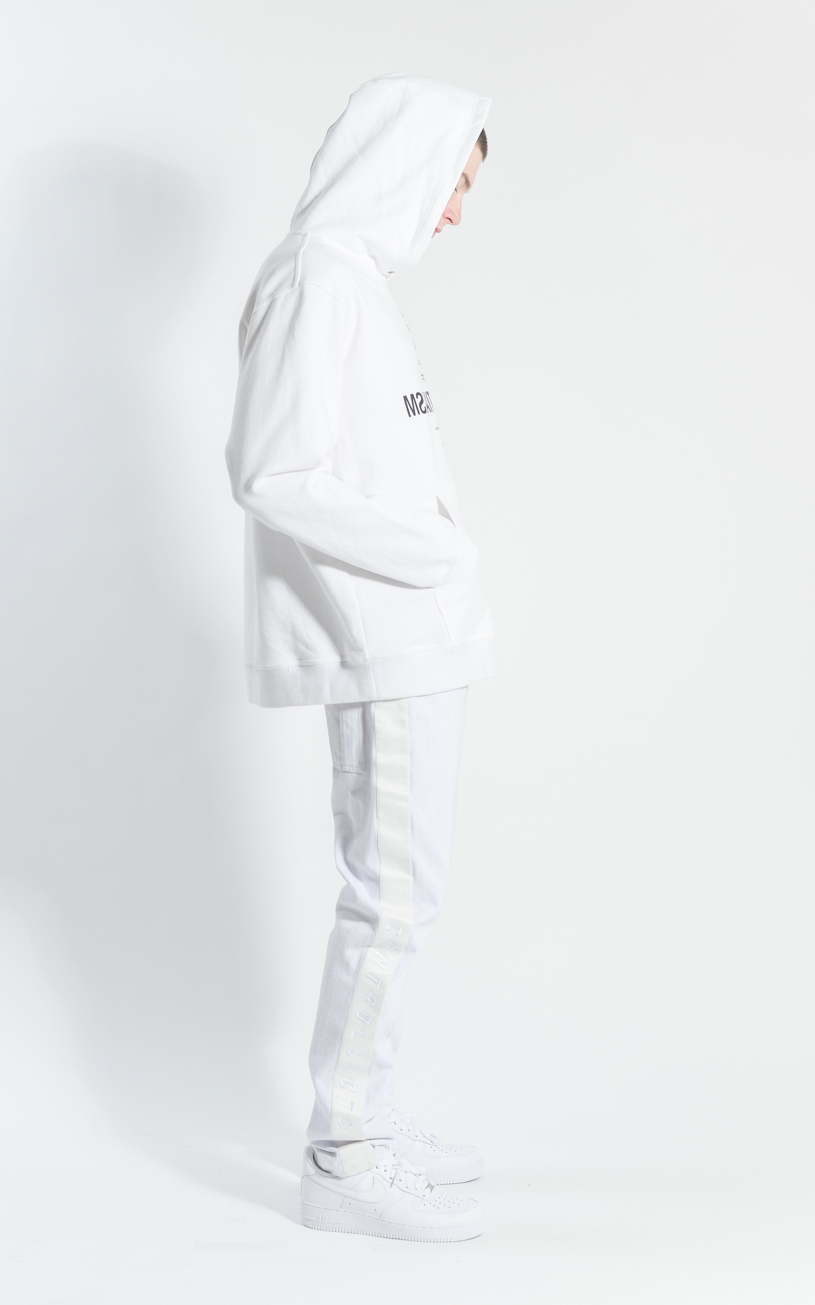 CON1715-01 EXISTENTIALISM HOODIE - WHITE/ BLACK PRINT