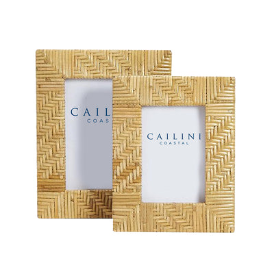Palm Beach Chevron Rattan Photo Frame