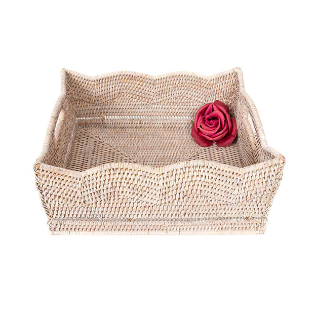 Island Scallop Storage Basket - White-Washed