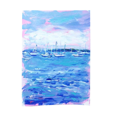 Boats in Harbor Original Painting