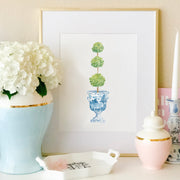Topiary Ginger Jar Watercolor Print