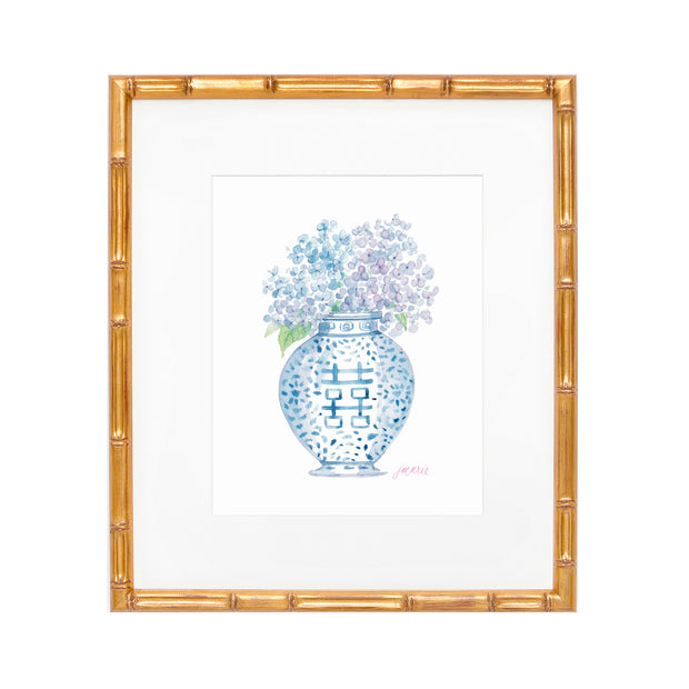 Hydrangea Ginger Jar Watercolor Print