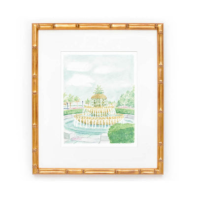 Pineapple Fountain Watercolor Print