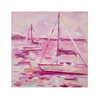 Pink Sailboats Original Framed Painting