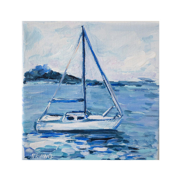 Blue Sailboat Original Framed Painting