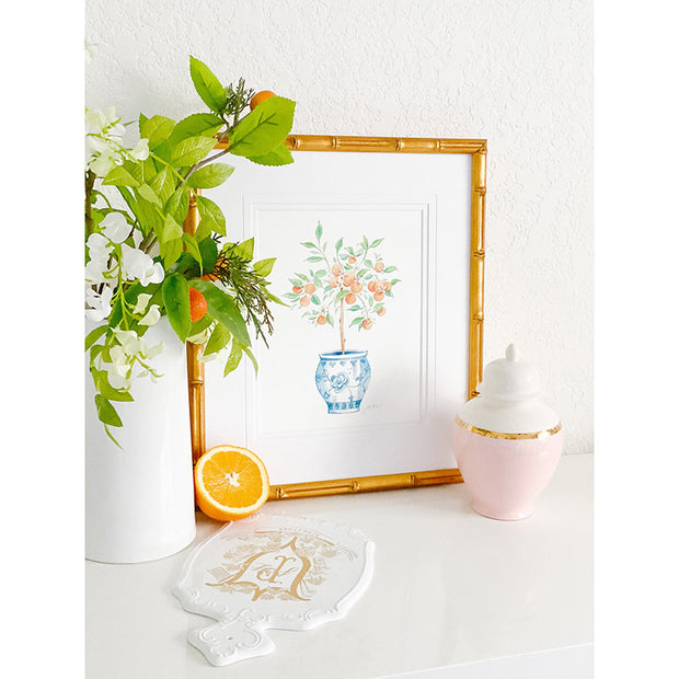 Orange Tree Ginger Jar Watercolor Print