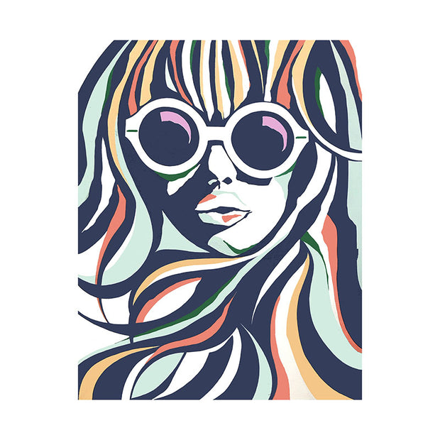 Navy Colored Glasses Art Print