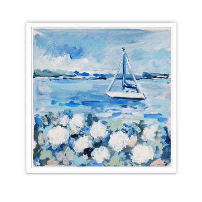 Coastal Hydrangeas & Sailboats Original Painting