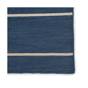Cos Cob Stripe Wool Rug - Navy