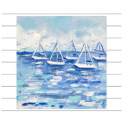 Five Sailboats Original Painting - Mini