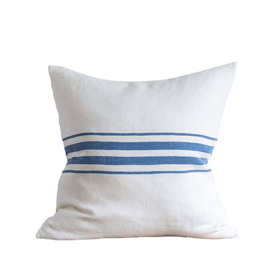 Classic Stripe Light Linen Pillow - French Blue