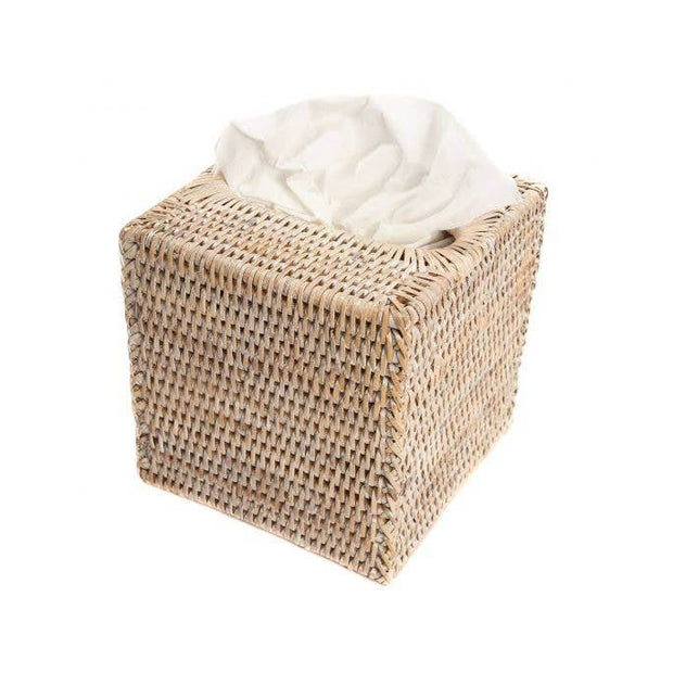 Sconset Column Tissue Box Cover - White-Washed